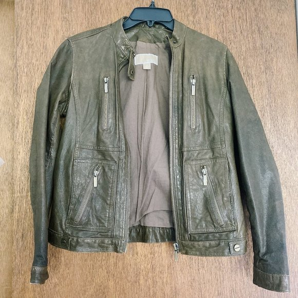 MICHAEL Michael Kors Jackets & Blazers - MICHAEL Michael Kors Leather Jacket in Olive